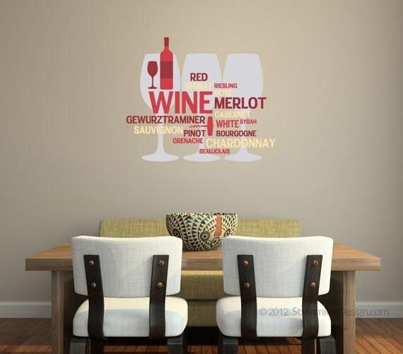 Wine lovers vinyl Matte Removable Vinyl Wall Art Print, merlot chardonnay kitcen wall art bar wall sticker grapes wine bottle wine glass art