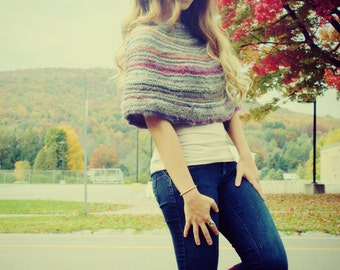 Handmade Knitted Caplet, Cape, Cozy Warmer, Shawl, Neck Warmer,Capelet Jacket, Knitted Shrug