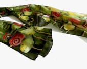 Hand painted silk scarf in green and red , with woodland natural motive. Ready to ship.