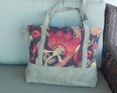 Leafy Floral with Faux Suede Tote/Carpet Bag
