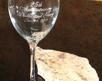 25th Anniversary Toasting Glass - Set of 2