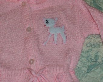 Size 6-9 months  Vintage Hooded One-Piece Baby Knitted Sweater Suit  - Pink with white reindeer with red nose - Acrylic - pram/stroller suit