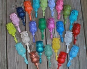 """Whimsical """"Owl"""" cast iron Wall Hook: YOU PICK the COLOR."""