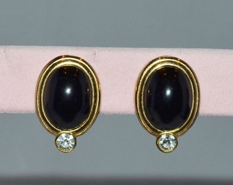 Couture Vintage GIVENCHY 18k Gold Plate Earrings Black Gold Rhinestone Signed Clip Retro