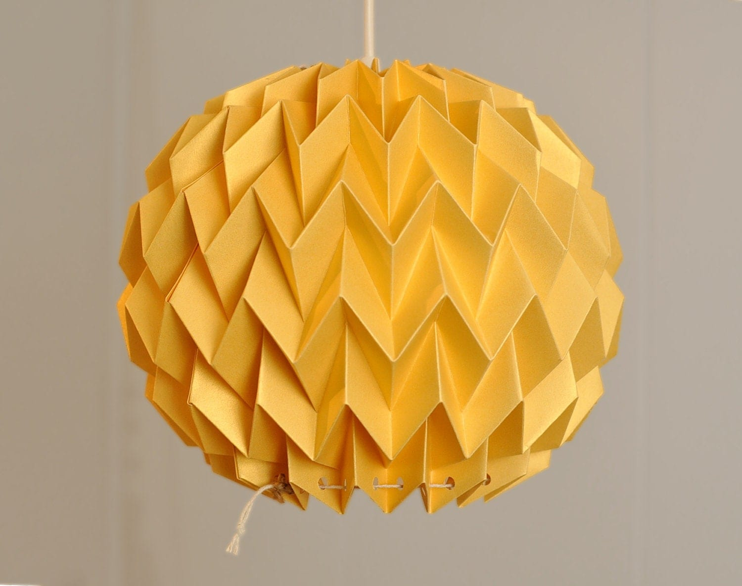 BUBBLE: Origami Paper Lamp Shade GOLD YELLOW / FiberStore by