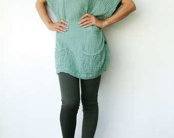 NO.82   Mint Green Double Cotton Gauze Wide Stand Collar Tunic Top-Cape-Vest