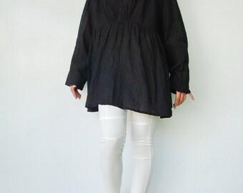 NO.96 Black Cotton Ruched V-Neck Blouse, Crinkle Long-Sleeved Top