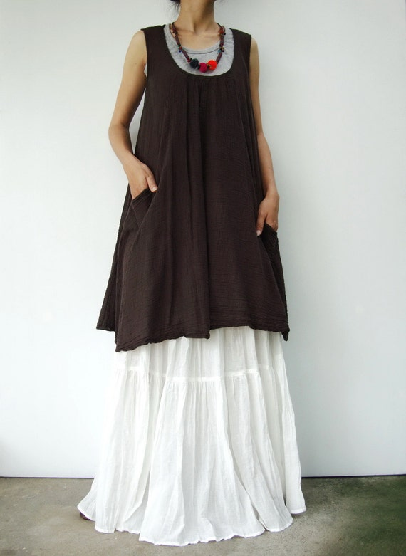 NO.19   Dark Brown Cotton Tunic Top Pleated Front Long Top