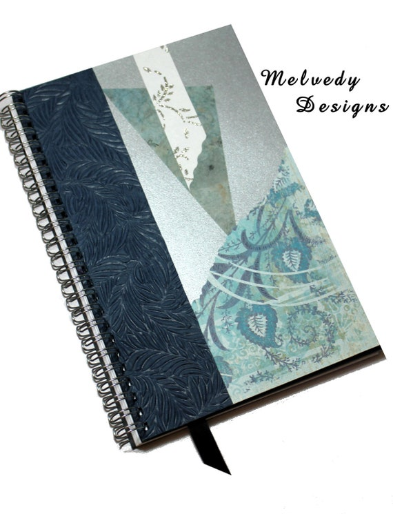 2013 Day Planner or Fashion Journal Notebook Blue and Silver