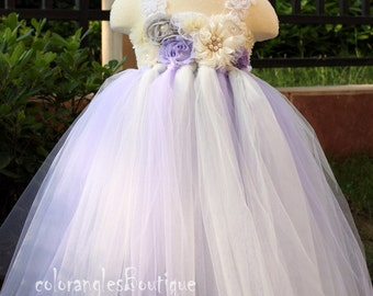 Flower girl dress Gray Wisteria Ivory tutu dress baby dress toddler birthday dress wedding dress 1T 2T 3T 4T 5T 6T