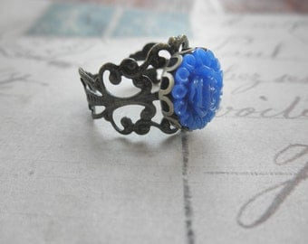 Vintage Look Antiqued Brass Filigree and Royal Blue Flower Adjustable Ring
