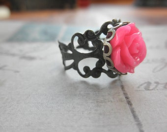 Vintage Look Antiqued Brass Filigree and Hot Pink Rose Adjustable Ring