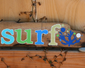 Surf Driftwood Sign with Blue Coral and teal, yellow, green and blue bubbles (Made to Order) peacelovedriftwood