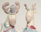 Reserved - Santa Claus Deer - Christmas History - Soft Horns - Big Grey Hat - Cotton Stuffed Toy