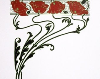 Art Nouveau : Red Poppies - limited edition screenprint