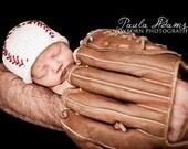 Baby Baseball Hat, Baby Baseball, Newborn Photo Prop Hat, White Baseball Hat, Baby Boy Baseball Hat, Baby Boy Knit Hat, Baby Photo Props
