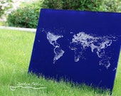 Map of Earth at Night - Acrylic and Oil on Clear Canvas