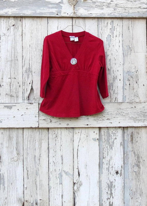 Red Rhapsody Maternity Top upcycled red babydoll mama top eco friendly shirt holiday christmas