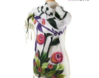 SALE!!!   white nuno felted scarf, spring meadow - silk felt wool fairy designer scarf, nunofelted shawl, felted multicolor wool