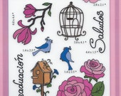 Flowers and Birds Rubber stamps