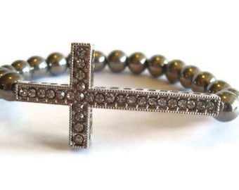 Sideways Cross  Beaded Stretch Bracelet