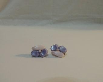Vintage Purple Beaded Clip Earrings