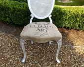 French Cane Back Burlap Accent Chair: On hold for Lori Jean