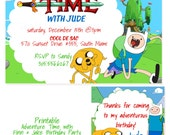 Adventure Time Personalized Printable Invitation & Gift Favor Tags