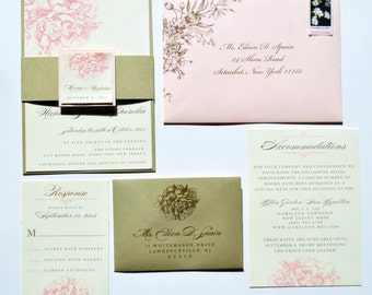 Peony Wedding Invitations, Pink Peony Invitations, Romantic Floral Wedding Invitation, Pink Peonies Wedding Invitation, Pink & Gold Invites