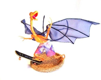 Skateboard Dragon, Riding the Concrete Wave: Dragon Art Doll