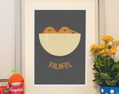 Falafel Poster. Perfect gift for vegans, vegetarians & street food lovers. Great print for kitchen, with Israeli and middle east street food