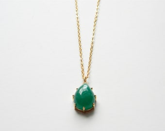 """Long Gold Necklace - Stone Necklace - Long Necklace - 22"""" - Emerald Teardrop Glass Stone Pendant on Matte Gold Chain Necklace"""