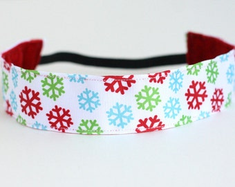 "Snowflake Non-Slip Headband 1.5"", NoSlip Headband, Christmas, Winter, Red Blue Green, Workout Headband, 5k, Dance, Running, Spinning"
