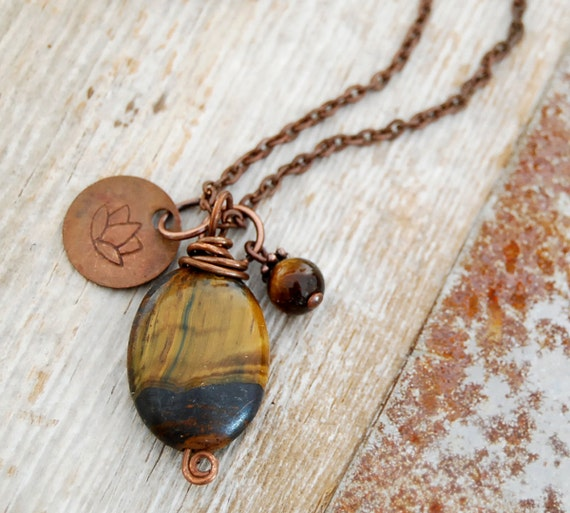 protection and willpower - solar plexus chakra necklace - yoga necklace - tiger's eye pendant