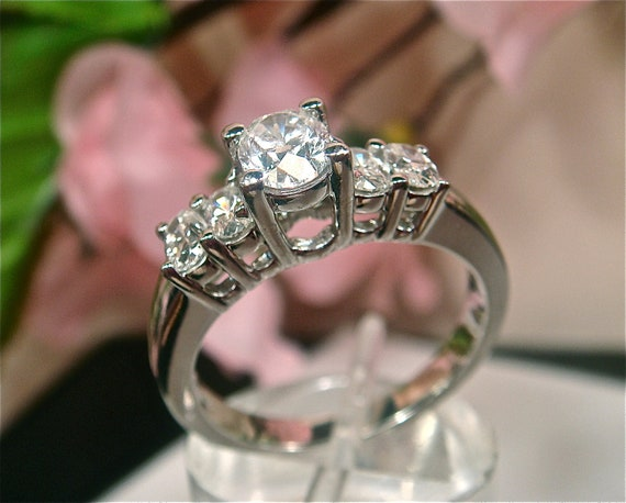 Items similar to SAVE 4 000 OFF Diamond 1 10ctw 5 Stone High end Engagement W