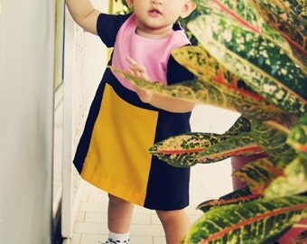 COCO Dress PDF Pattern & Tutorial - Color Block Baby Dress - 4 sizes from NB to 18M