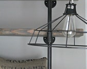 Hanging Metal Wire Lamp With Vintage Style Cord and Socket Exposed Bulb Cage Light Industrial Pendant