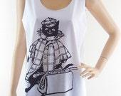 Black Cat Coat (Size L) Art Design Cat Tank Top Cat Shirt White T-Shirt Tunic Screen Print Size L