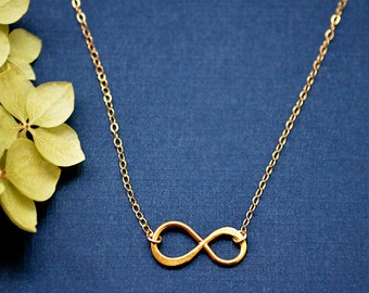 Infinity Necklace - Love Everyday Necklace - Bridesmaid Necklace - infinity symbol - infinity jewelry - gold or silver - layering necklace