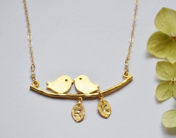 Sweetheart Necklace - Love Birds Necklace - Personalized Necklace - mothers Day gift for her - Two initial necklace - romantic jewelry