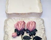 Vintage Rose 3D Trinket Box - 1950s Lefton Japan Porcelain