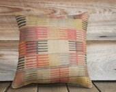 Geometric Line Pillow, Burlap Throw Pillow, 16x16