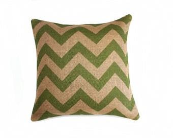 Green Chevron Throw Pillow, Cottage Chic, Burlap, Feed Sack, Industrial, Decorative, Zig Zag, Designer Pillow