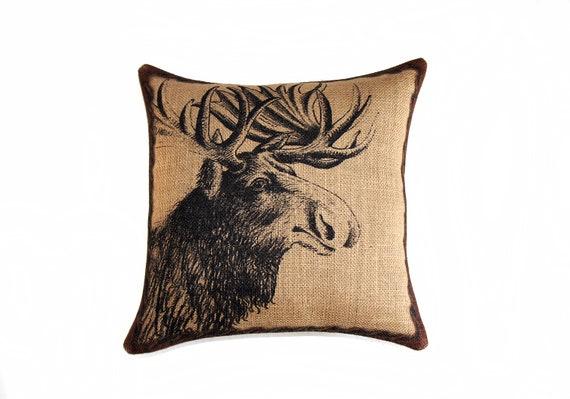 Moose Pillow, Burlap Pillow, Throw Pillow, Cushion, Accent Pillow, Log Cabin, Rustic, Industrial,  Beige Black Brown