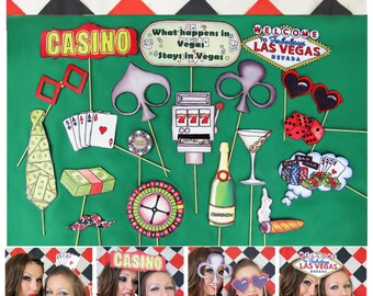 casino poker photo booth props perfect for your Las Vegas birthday party or gambling/ game night - get your poker face on and roll the dice