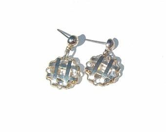 Cris Cross  Encased Crystal Drop Pierced Earrings