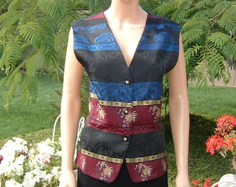 B'dazzled Blue, Carnelian Red, Black and Gold colored Silk Vest Women's 1980s
