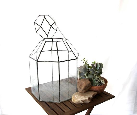 """Vintage Glass Terrarium Large 15"""" Octagon"""