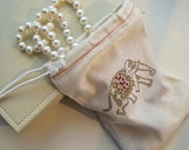 1 Silver Glitter Elephant  Muslin Bag - Stamped