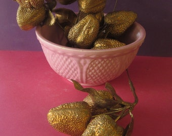 12 Bunches Vintage 1970's Plastic Gold Strawberries